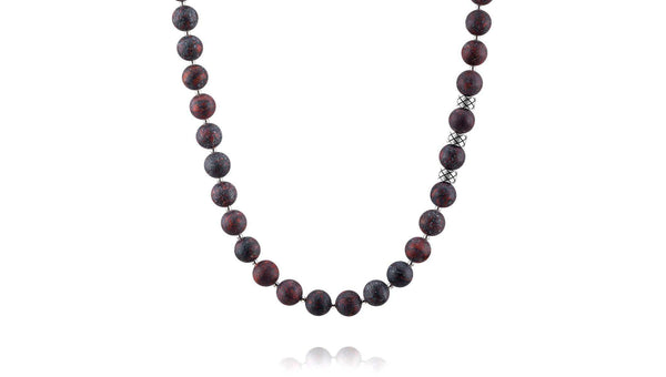 Prime Matte Brecciated Jasper and Silver, 8mm, Silver necklace