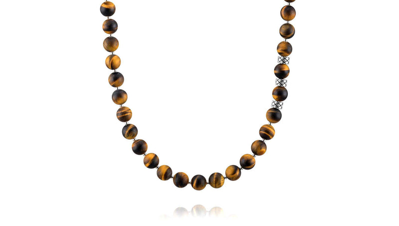 Prime Matte Tiger Eye and Silver, 8mm, Silver necklace