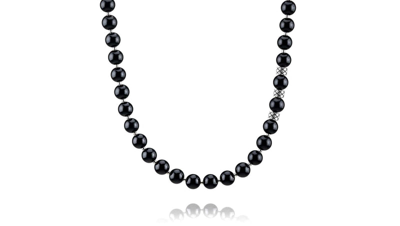 Prime Obsidian and Silver, 8mm, Silver necklace