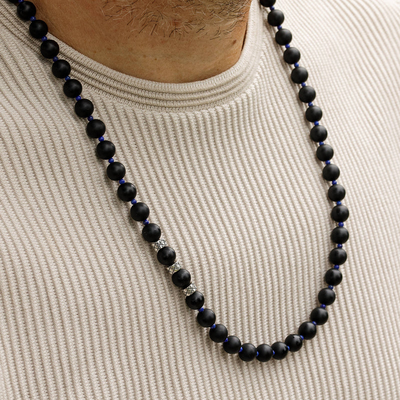 Prime Matte Obsidian and Lapis Lazuli, 8mm, Silver necklace
