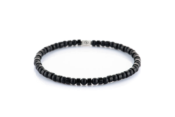 Parvus Double Black - Agate, 4mm, Silver bracelet