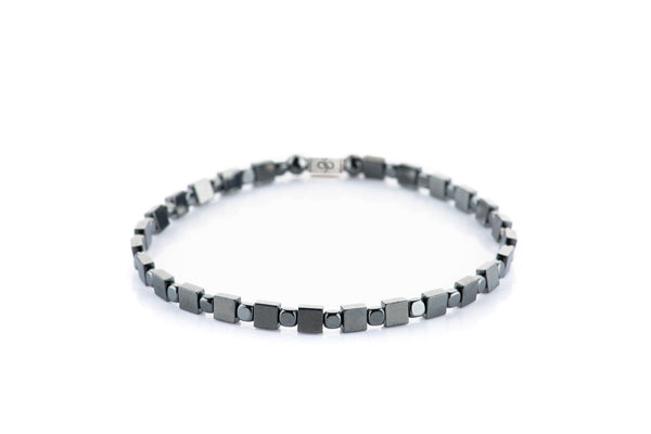 Parvus Double Dark Square, 4mm, Silver bracelet