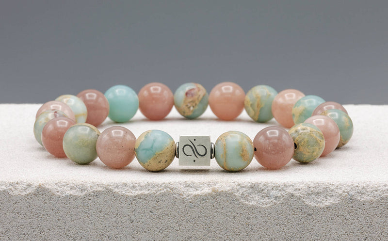 Classic Peach Moonstone Mixed, 10mm, Silver bracelet