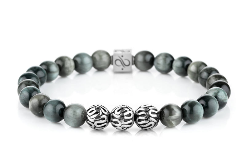 Premium Eagle Eye, 8mm, Silver bracelet