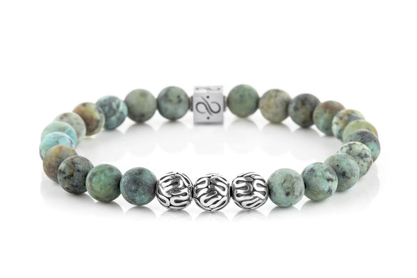 Premium Matte African Turquoise, 8mm, Silver bracelet