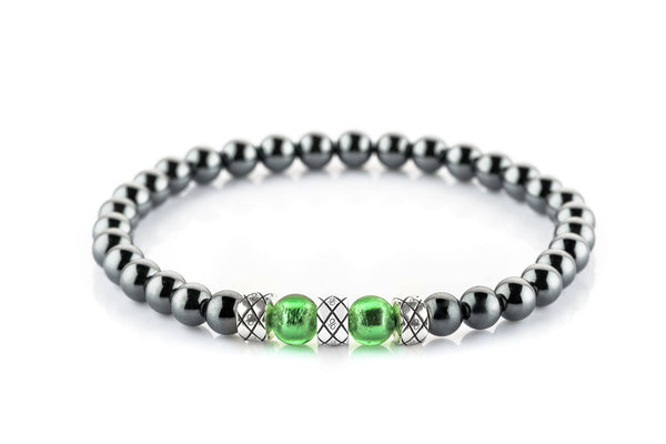 Prime Particolare Abacus Green - Hematite, 6mm, Silver bracelet