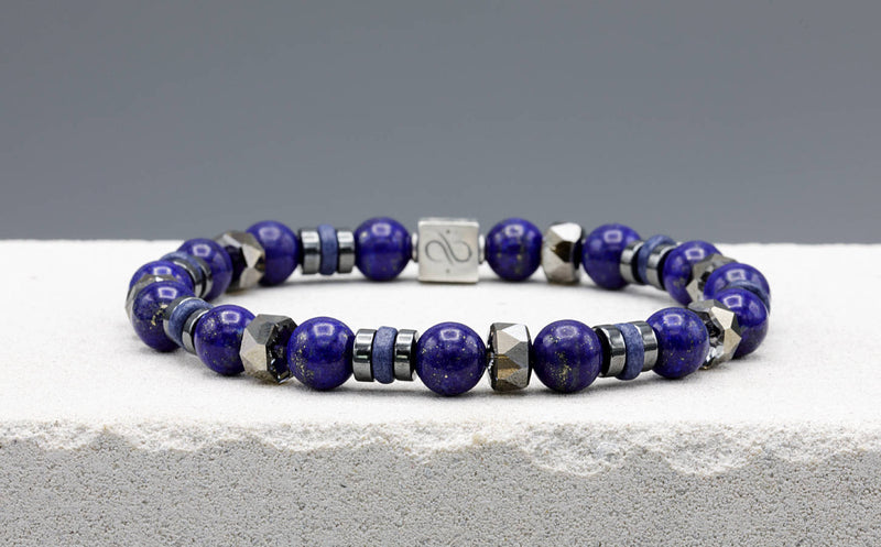 Wired Navy Blue Ceramic - Lapis Lazuli, 8mm, Silver bracelet