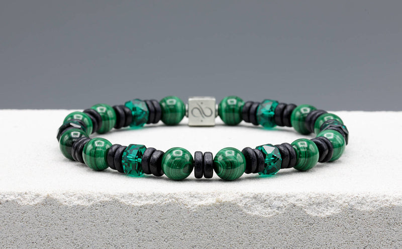 Wired Black Ceramic - Malachite, 8mm, Silver bracelet