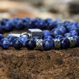 Prime Sodalite and Blue Sapphire, 6mm, Silver necklace