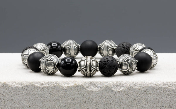 Special Black Mixed, 12mm, Silver bracelet