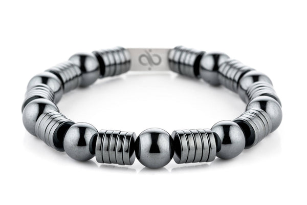 Wired Hematite, 12mm, Silver bracelet