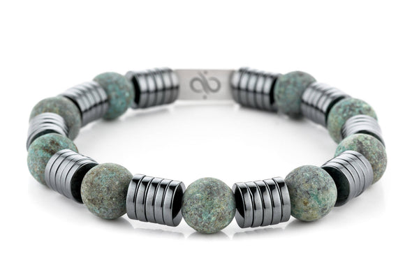 Wired Matte African Turquoise, 12mm, Silver bracelet