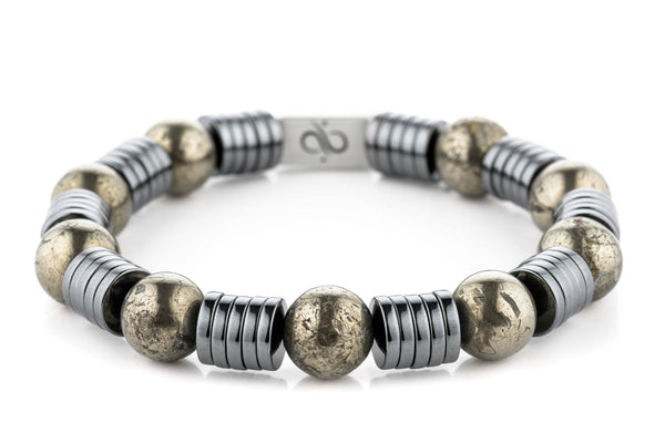 Wired Pyrite, 12mm, Silver bracelet