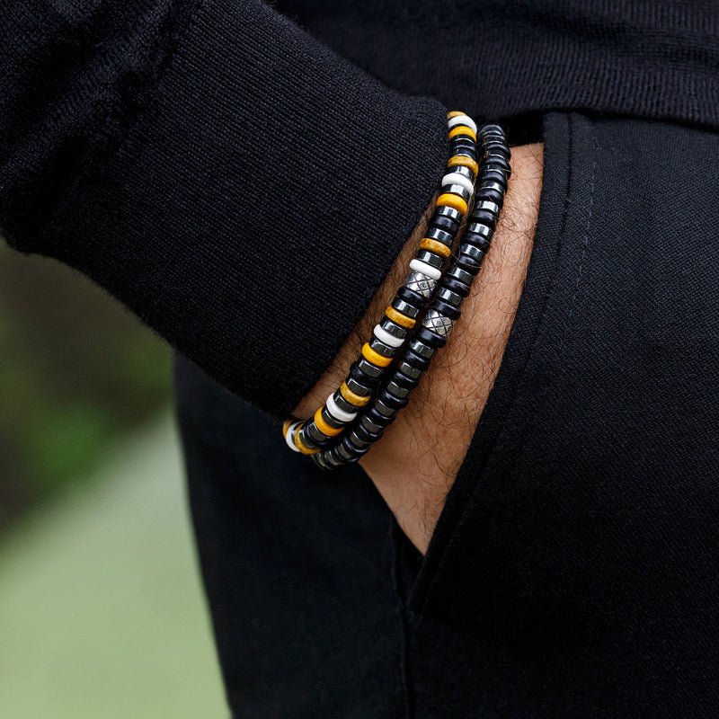 Abacus Dark Hematite - Yellow/Black, 6mm, Silver bracelet