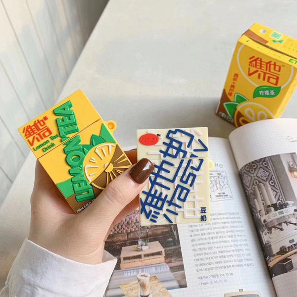 Asian Drink Lemon Tea/Soya Milk Airpod Case SD01443 - SYNDROME - Cute Kawaii Harajuku Street Fashion Store