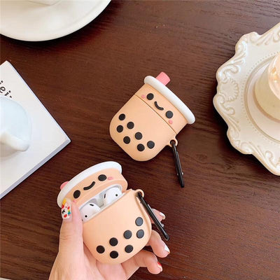 Happy Boba Milk Tea Airpods Case SD01563 - SYNDROME - Cute Kawaii Harajuku Street Fashion Store