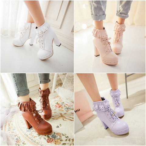 Kawaii Lolita Lace High-Heeled Shoe SD00061