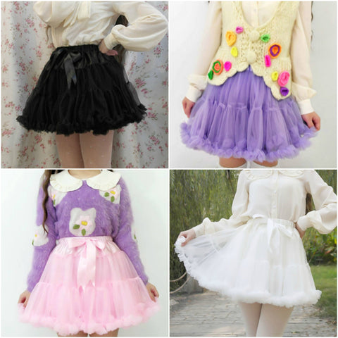 Fluffy Plush Tutu Lolita Inpired Skirt SD00777