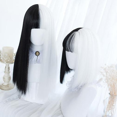 Black White Split Wig SD00374 - SYNDROME - Cute Kawaii Harajuku Street Fashion Store