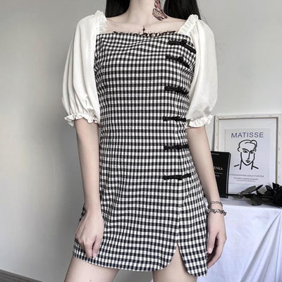 Black and White Plaid Cheongsam Dress SD00376 - SYNDROME - Cute Kawaii Harajuku Street Fashion Store