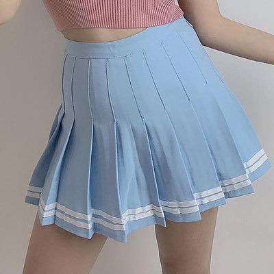 Summer Double Striped Pleated Skirt SD01971 - SYNDROME - Cute Kawaii Harajuku Street Fashion Store