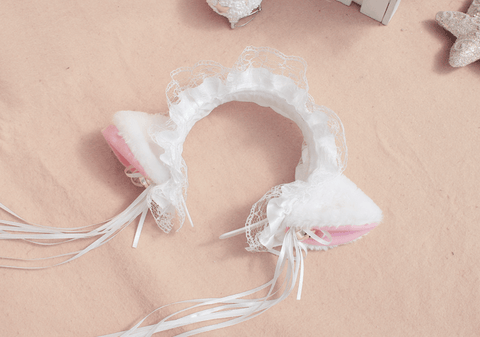 Cute Ruffle Kitty Ears Headband with Tassels SD00091