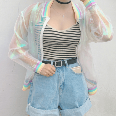 Pre -order Harajuku transparent organza rainbow jacket SD00605