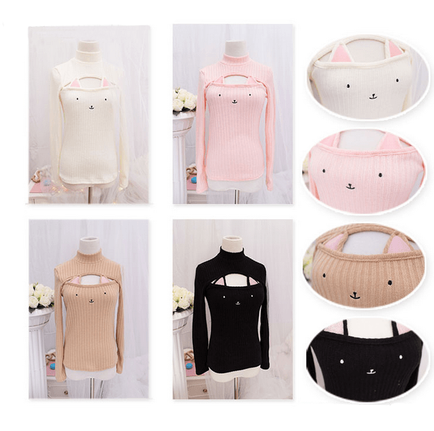 Kawaii Hollow Chest Kitty Cat Keyhole Sweater SD00060