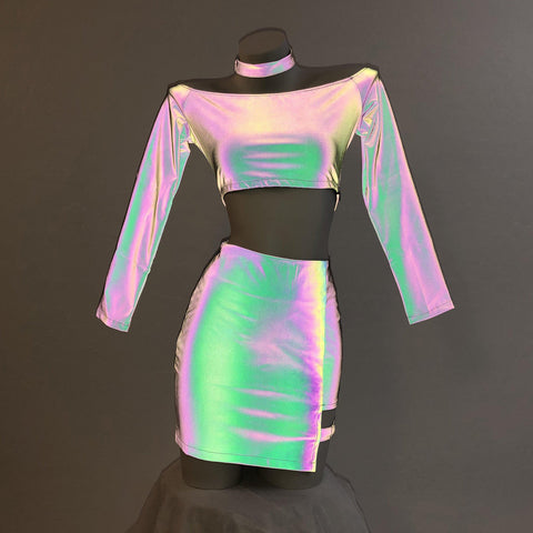 Reflective Rainbow Collar Top Ring Strap Skirt Set MF01006