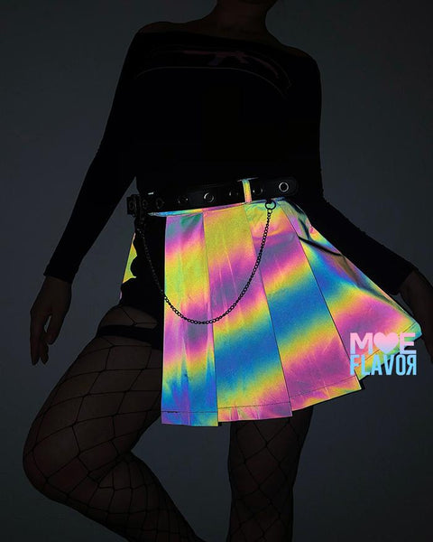 Reflective Rainbow K-Pop Open Skirt Shorts MF01780 - SYNDROME - Cute Kawaii Harajuku Street Fashion Store