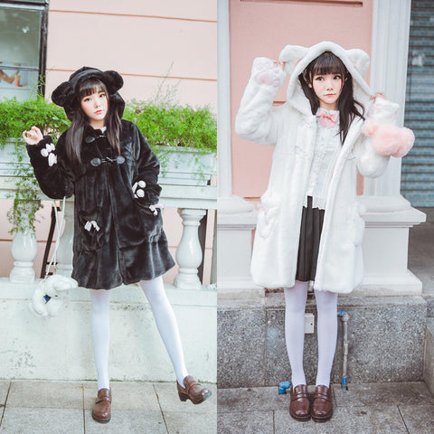 Bear Ears Hoodie Paws Sleeve Winter Fur Coat SD00261 - SYNDROME - Cute Kawaii Harajuku Street Fashion Store