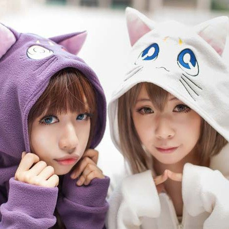 Japanese Luna and Artemis Sailor Moon  Warm Winter Hooded Sweater SD00119