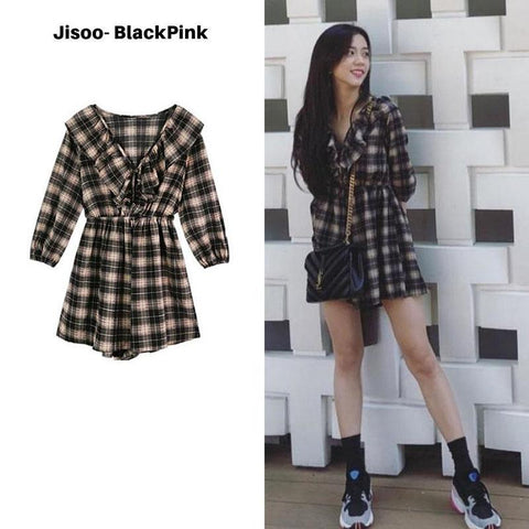Ruffeled Plaid Dress SD00059