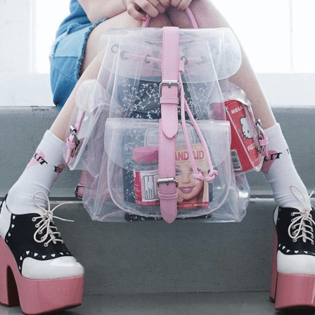 Kawaii pink/green transparent backpack SD00596