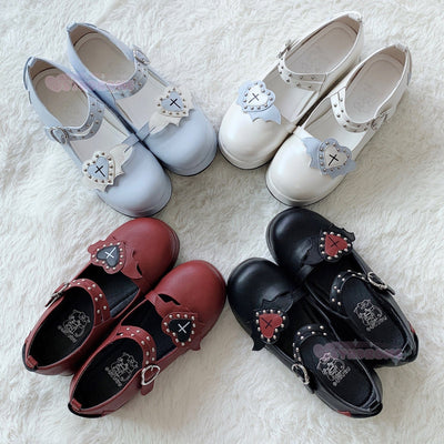 Lolita Bat Heart Platform Shoes SD00383 - SYNDROME - Cute Kawaii Harajuku Street Fashion Store