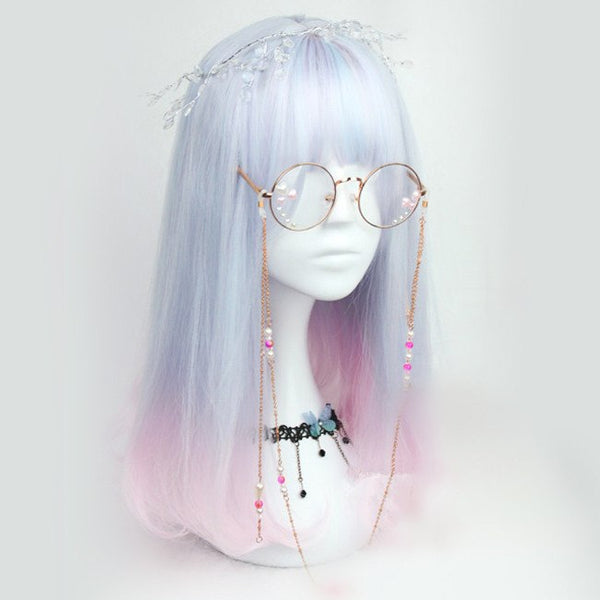 Pastel Blue and Pink Mixed Short Wig SD00438