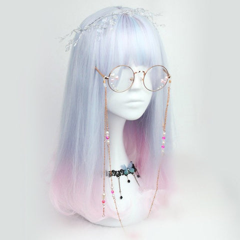 Pastel Blue and Pink Mixed Shoulder Length Wig SD00438