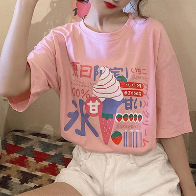 Strawberry Ice Cream T-shirt SD00194 - SYNDROME - Cute Kawaii Harajuku Street Fashion Store
