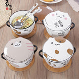 Neko Eating Bowl With Fork or Spoon Set SD00793 - SYNDROME - Cute Kawaii Harajuku Street Fashion Store