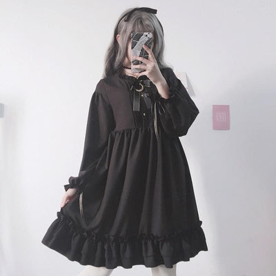 Lolita Ruffle Moon Black Dress SD00818 - SYNDROME - Cute Kawaii Harajuku Street Fashion Store