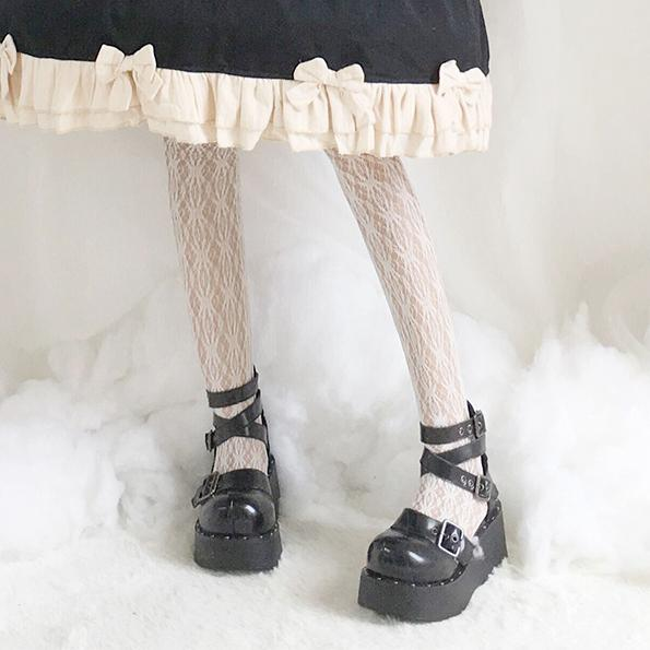 Black Lolita Cross Strap Buckle High-Platform Shoes SD00332 - SYNDROME - Cute Kawaii Harajuku Street Fashion Store