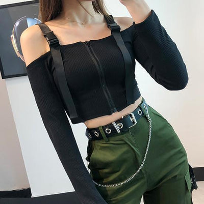 Army Crop Top SD00843 - SYNDROME - Cute Kawaii Harajuku Street Fashion Store