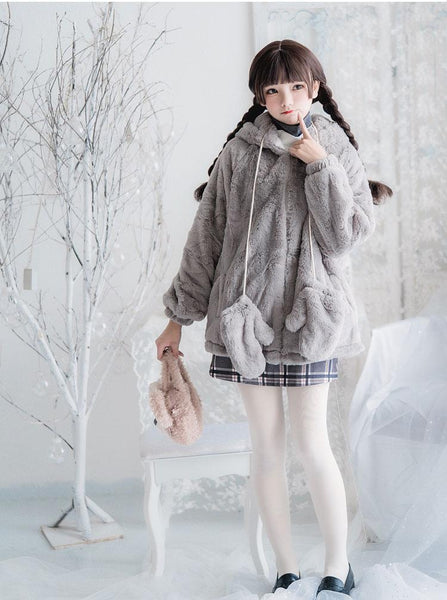 Grey Koala Coat Top Skirt SD00519 - SYNDROME - Cute Kawaii Harajuku Street Fashion Store