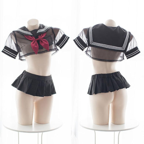Sexy Transparent Sheer Black Sailor Short School Uniform Lingerie SD00499