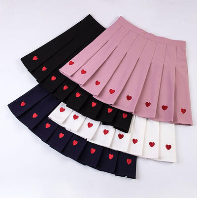 Heart Pleated Skirt SD01268 - SYNDROME - Cute Kawaii Harajuku Street Fashion Store