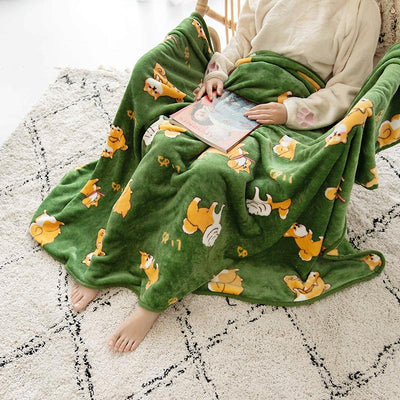 Shiba Inu Fleece Blanket SD01766 - SYNDROME - Cute Kawaii Harajuku Street Fashion Store