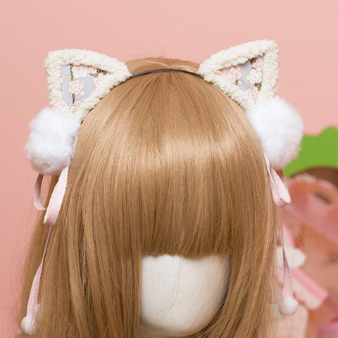 Cherry Blossom Fur Ball Cat Ears Headband SD00324 - SYNDROME - Cute Kawaii Harajuku Street Fashion Store