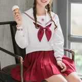 Red Sakura Blossom Embroidered School Uniform SD00840 - SYNDROME - Cute Kawaii Harajuku Street Fashion Store