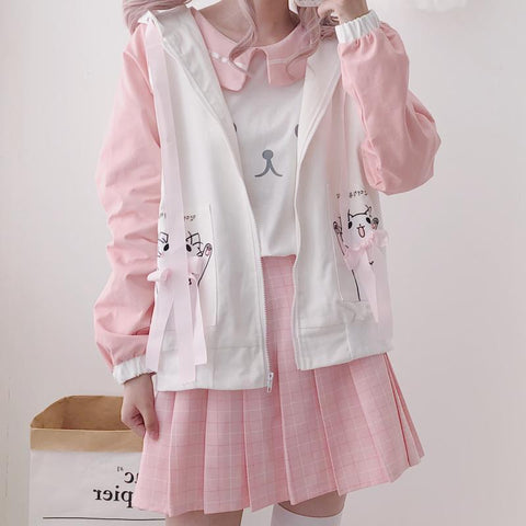 Happy Neko Bow Ribbon Thin Jacket SD00388 - SYNDROME - Cute Kawaii Harajuku Street Fashion Store