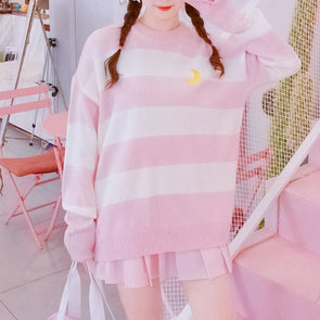 Pink&White Striped Moon Embroidered Sweater SD00425